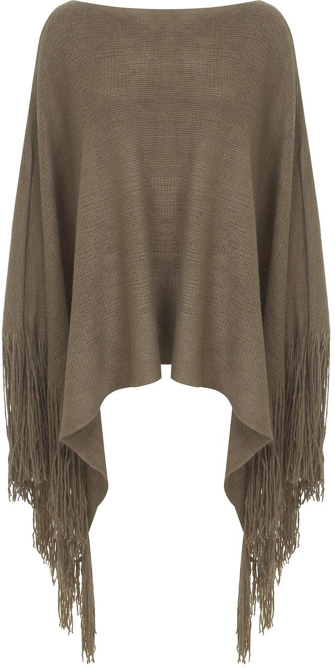 Womens khaki brown poncho from Miss Selfridge - £28 at ClothingByColour.com