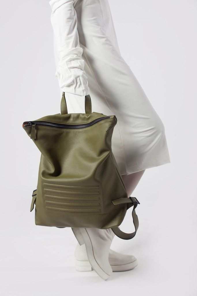 "Olive green minimal, unisex big backpack - rucksack. Zip fastener, inside pocket, 100% Italian leather. Perfectly fits 15"" Macbook, made in Europe."