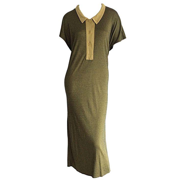7e5bb202b8bfa 1960s Early Vintage Yves Saint Laurent Jersey Dress w  Peter Pan Collar YSL