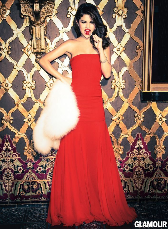 Selena Gomez Talks Taylor Swift, Justin, and Giving Back in Glamour: Selena Gomez wore a red Giulietta gown for Glamour's December 2012 issue.