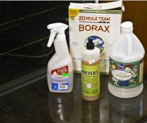 Homemade Oven Cleaner Recipe  1 Tbsp borax  1/2 c. vinegar  1/8 c. dish soap  1 c. boiling water  Combine everything in a spray bottle and shake well. Sprinkle the inside of your oven with baking soda. Spray a thick layer of the oven cleaner all around your oven. Thick, thick layer. Sprinkle with baking soda. Leave overnight, and scrub out in the morning with a hot, wet rag.