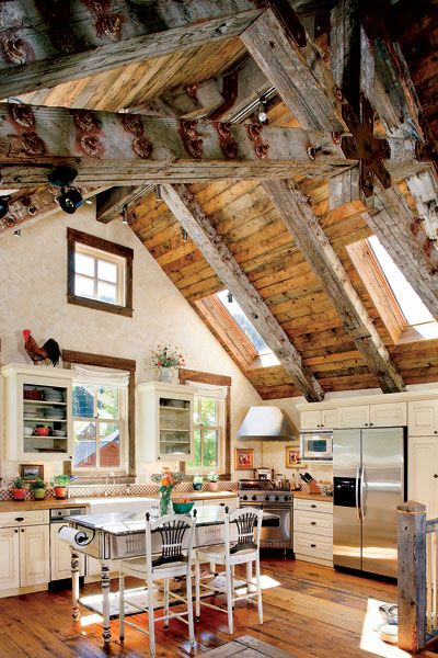 Timber home country kitchen, Montana**.