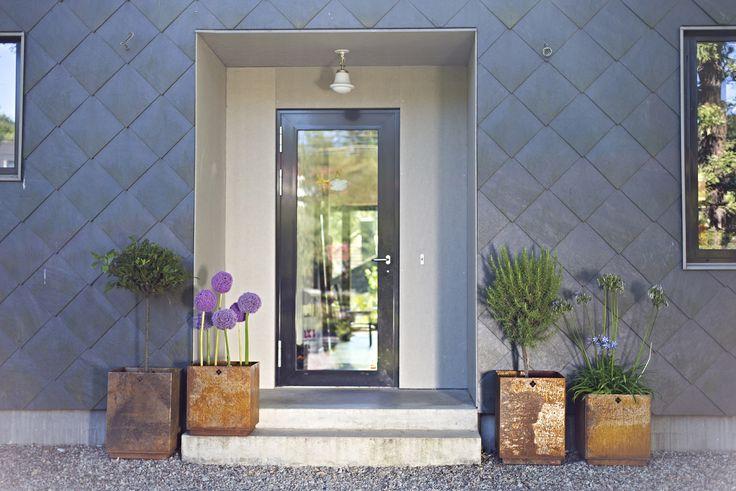 Stunning entrance at Villa Thiel in Saltsjö-Duvnäs, near Stockholm, Sweden.