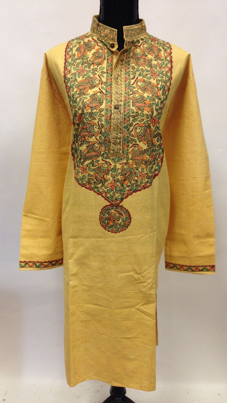 Hand Painted Madhubani Design Linen Long Kurta-Yellow
