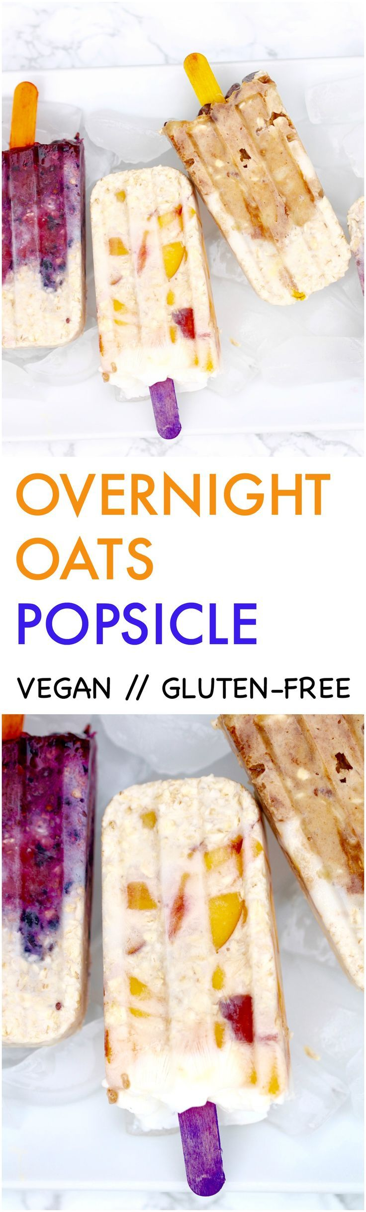 Turn your favorite overnight oats into popsicles. It is a nutritious and fun treat for Summer and great for grab n' go breakfast & snack.