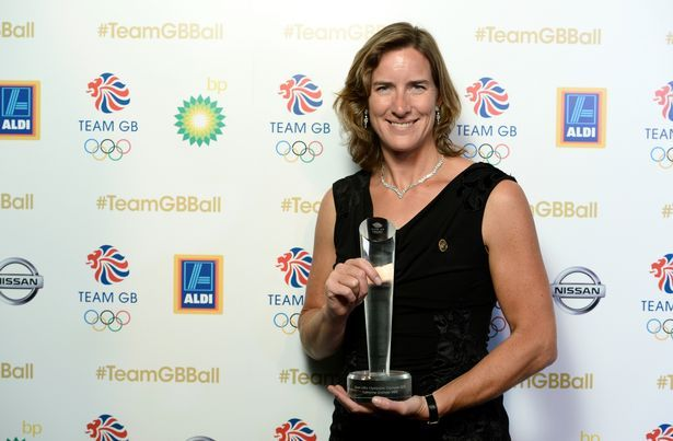 Katherine Grainger poses with the Olympians' Olympian Award at the Team GB Ball