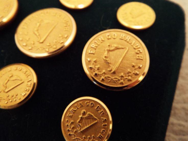 Buttons Irish blazer jacket / uniform gold Erin go Braugh by Waterbury