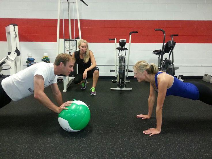 Push up with medicine ball pass