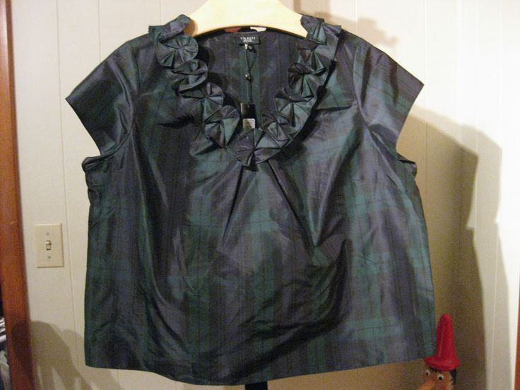 MISSES BLACK WATCH PLAID SILK BLOUSE ROSETTE TRIM TALBOTS 2 4 6 $89  #Talbots #Blouse