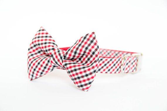 Georgia Bulldogs Bow Tie Dog Collar in Gingham by pecanpiepuppies