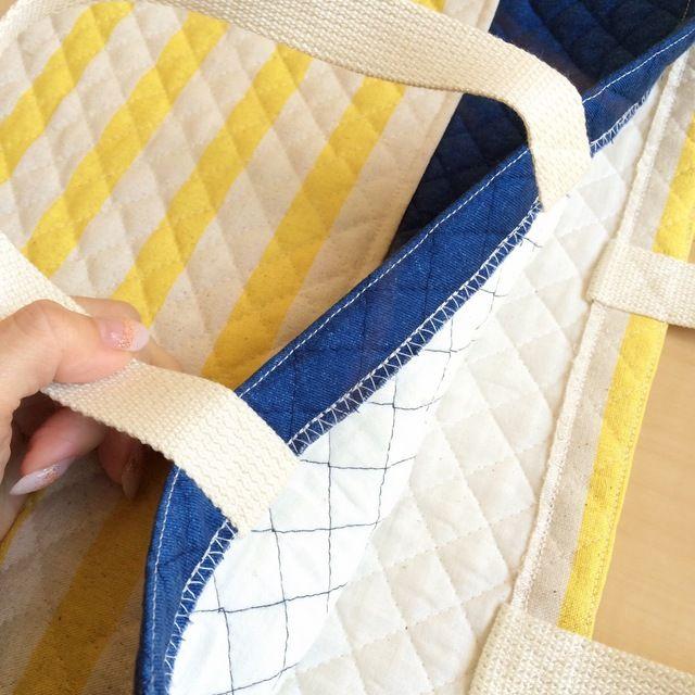 レッスンバッグ&上履き袋 ーしましま×デニムー
