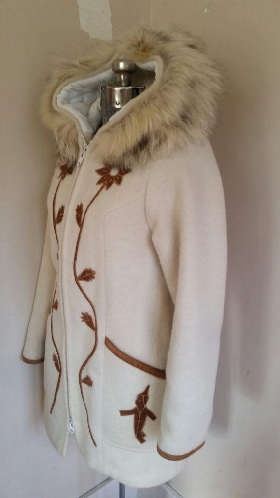 Vintage Inuit Coat White Wool and Fur Short by RavishingRetro