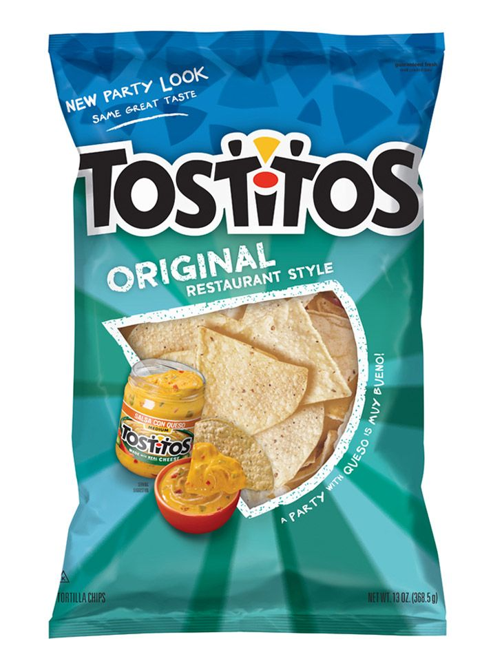 New Tostitos packaging emphasizes the guys holding chips over salsa bowl