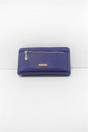 Lüx Cüzdan - Mavi - Elmas bayan cüzdan modeleri çanta