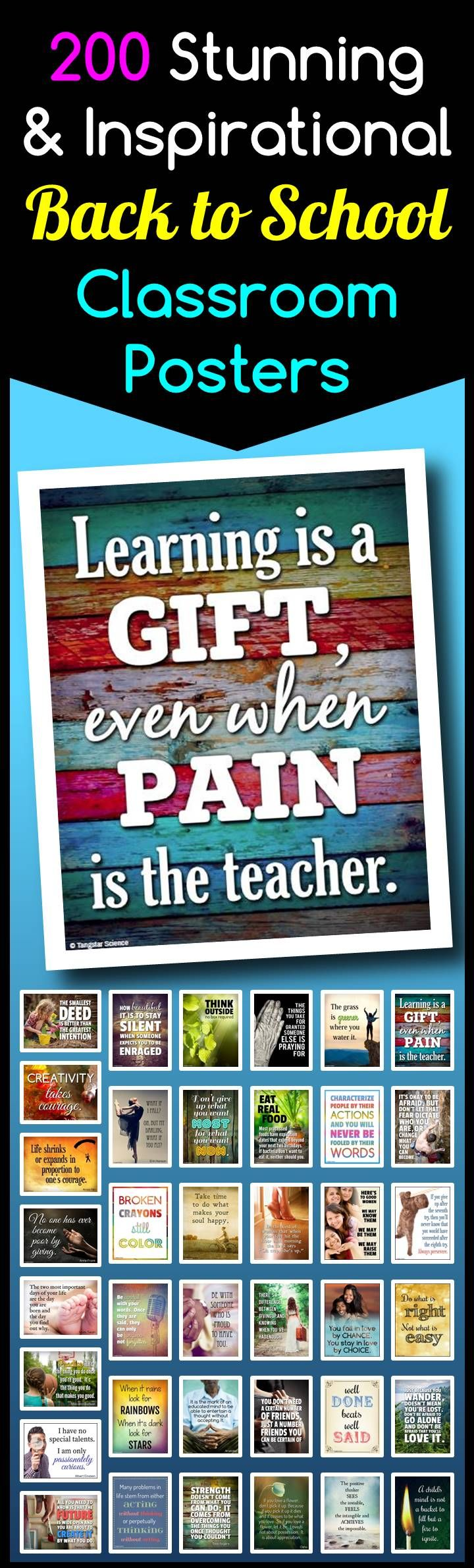 """This visually stunning collection of 200 inspirational quotes classroom posters will help you decorate your class as well as inspire your students and create great thought provoking discussions. Each poster can be easily printed on a single piece of letter sized 8.5""""x11"""" piece of paper."""