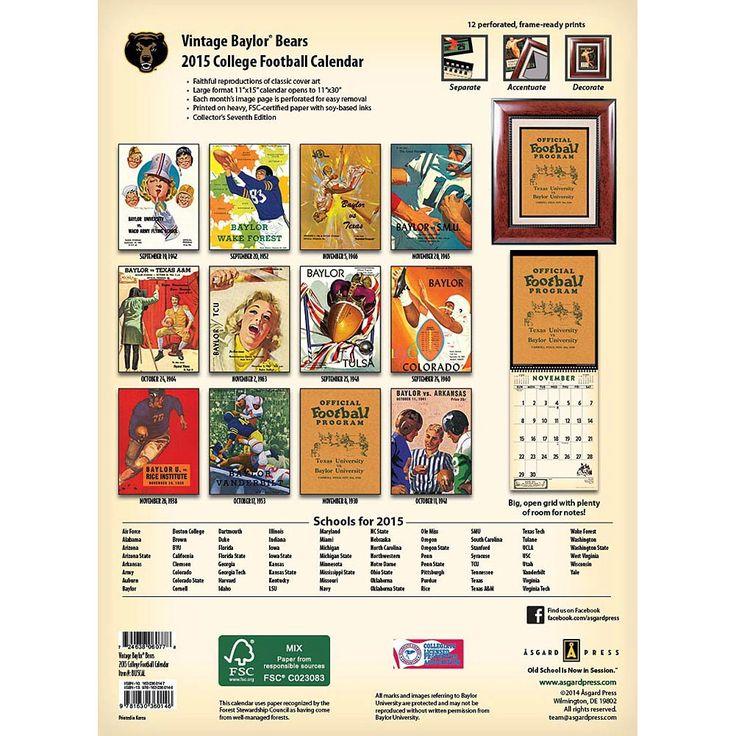 Baylor Vintage Football 2020 Wall Calendar Football