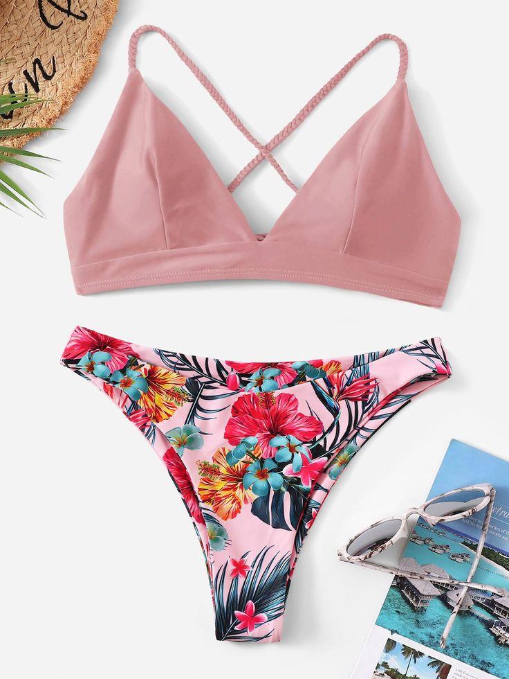 Nahtoberteil mit gekreuzter Rückseite und tropischem Bikini #Ad, #Affiliate, # Top # Seam # Cros …