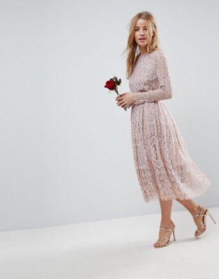 ASOS WEDDING Lace Long Sleeve Midi Prom Dress