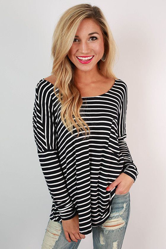 The Sweet Life in Stripes Top in Navy