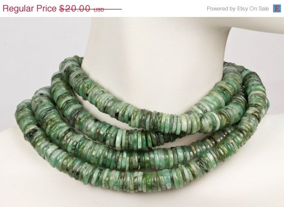 ON SALE Emerald Heishi Beads Smooth Button Beads by rocksamillion, $17.00