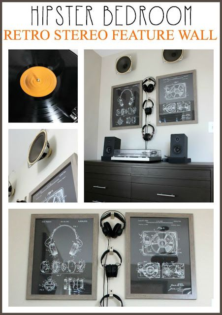 A Hipster Bedroom - Midcentury Dresser and Retro Turntable Feature Wall