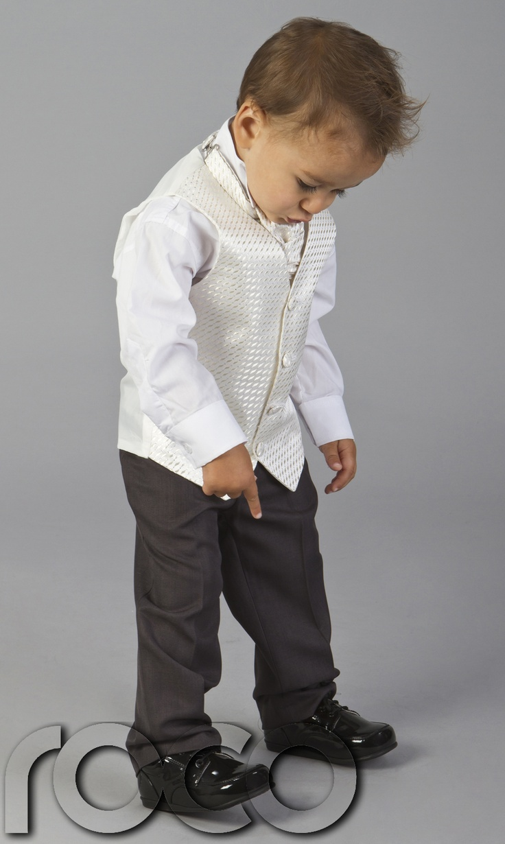 BABY TODDLERS BOYS WEDDING PAGEBOY OUTFITS GREY IVORY CRAVAT SUIT AGE 6M - 15YRS   eBay