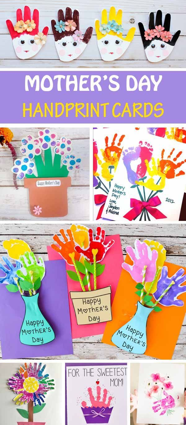 Mother S Day Handprint Cards For Kids To Make For Mom And Gramda Handprint Flower Cards Mothers Day Crafts For Kids Mothers Day Cards Easy Mother S Day Crafts