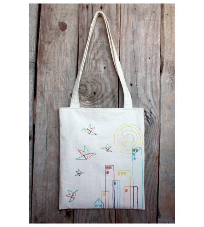 Special Cloth Bag Series. Hand embroidery cloth bag on cotton fabric. 35 x 40 cm, used unpainted thread, has pockets, signed.   You can buy this tote bag at www.artrebels.com #artrebels #totebag #art