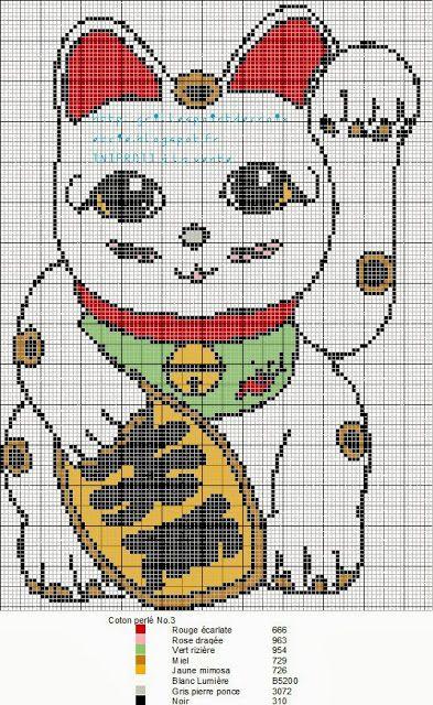 Maneki-neko pattern by grilles point de croix et cie