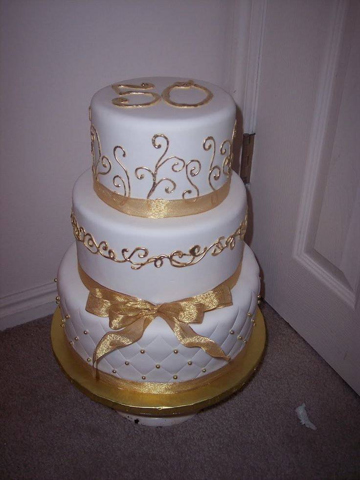 50th anniversary cakes pictures | 50th Anniversary cake -- I LOVED working with the gold food-safe ...