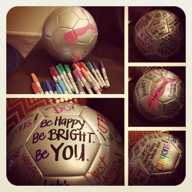 Inspirational Soccer Balls. End of season gift idea