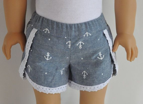 Chambray and lace anchor print shorts by. Made with the Lace Dolphin Shorts pattern, found here http://www.pixiefaire.com/products/dolphin-lace-shorts-18-doll-clothes. #pixiefaire #lacedolphinshorts