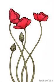 art nouveau border poppy - Google Search