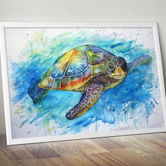 Kaleidoscope Sea Turtle Watercolor Dessin De Tortue Tortue De