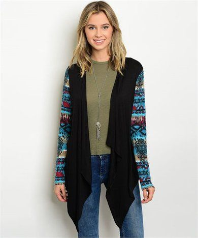 Black Tribal Sleeves Cardigan