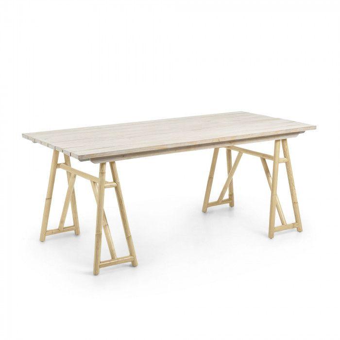 Table Avec Structure En Rotin Et Plateau En Pin Massif Pour Usage Interieur Et Exterieur A L Abri Ou Couvert Pin Massif Bois Mobilier De Salon