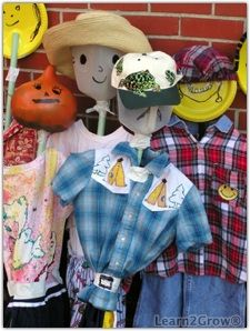 Broomstick Scarecrow. Tape a coat hanger near the end of the handle,  a quart milk jug for the head and the child's own shirt or dress. Accessorize with beads, ribbons and a hat.