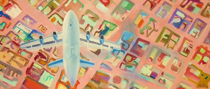 ARTFINDER: the air-plane  by Laura Perez Ferrandiz - This painting is  the first of the air-plane series I did, the streets are done with colours  this buildings looking from the top have a form that look like ...