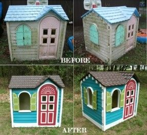 $10 yard sale Little Tikes playhouse  $25 spray paint and tape    $35 best investment I've ever made