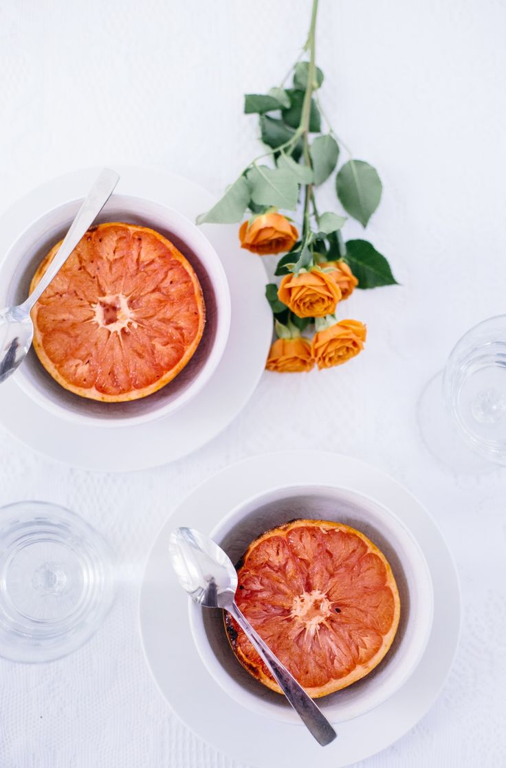 Healthy dessert for two keeps the romance alive. Placing a vibrant grapefruit in a clean white bowl makes for a lovely table setting. Inspired by the movie Burnt in select theaters October 23 and everywhere October 30!