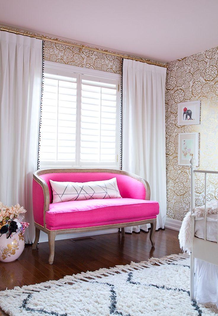 #gold, #love-seat, #living-room, #feminine, #wallpaper, #sofa, #curtains, #settee, #pillow, #walls, #glam, #hot-pink  Photography: Ashley Capp - ashleycapp.com Photography: Ashley Capp - www.ashleycapp.com  Read More: http://www.stylemepretty.com/living/2014/02/13/behind-the-blog-with-bijou-boheme/