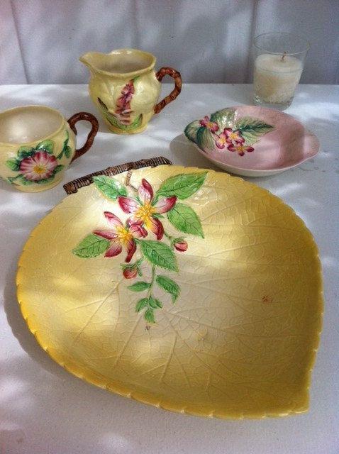 Beautiful Carlton ware lemon yellow apple blossom dish! From Fibs  Scraps on Etsy.