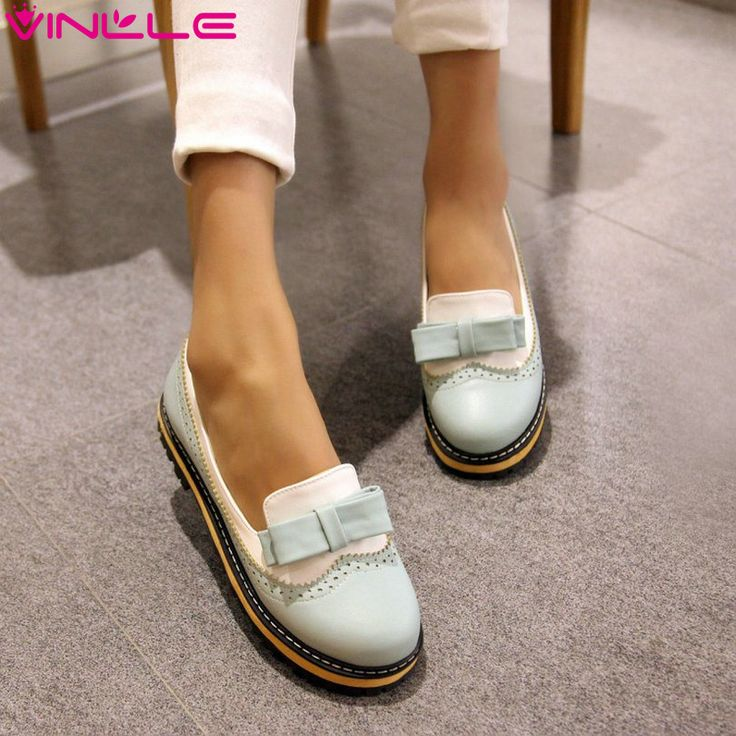VINLLE 2015 new women fashion sweet style round toe low heel casual pumps wedding party shoes size 34-43