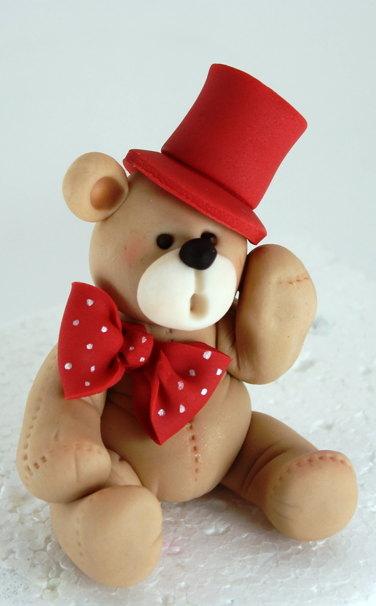 Teddy Bear with Red Top Hat and Polka Dot Red and White Bow Tie