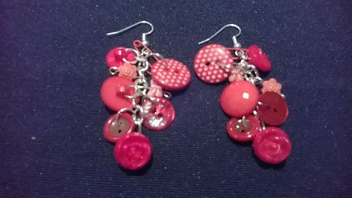 Red buttons earrings