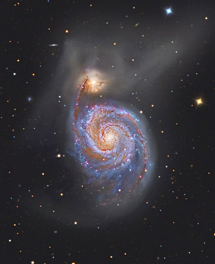 M51: The Whirlpool Galaxy Image Credit & Copyright: Marco Burali, Tiziano Capecchi, Marco Mancini (Osservatorio MTM) Follow the handle of the Big Dipper away from the dipper's bowl until you get to the handle's last bright star. Then, just slide your telescope a little south and west and you might find this stunning pair of interacting galaxies, the 51st entry in Charles Messier famous catalog. [large galaxy cataloged as NGC 5194; top galaxy is cagtaloged as NGC 5195]