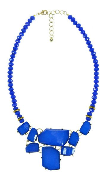 Coloured Gem Stone Necklace - Blue $59.95  #leethal #accessories #fashion