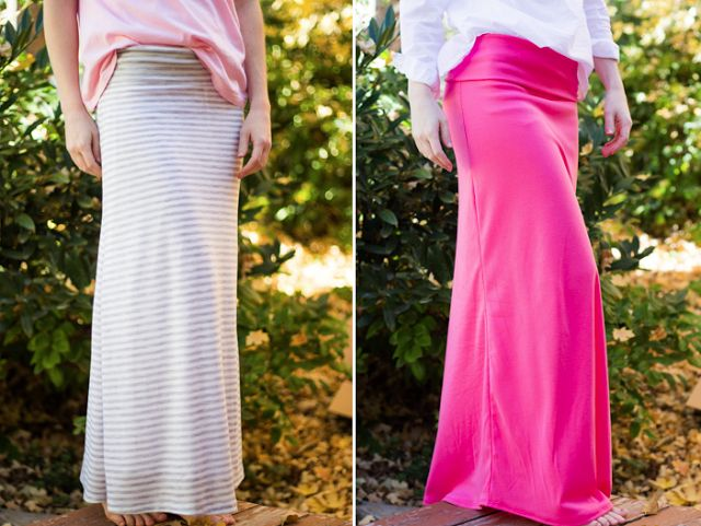 DIY Maxi Skirt with Yoga Waist Band - do it yourself divas.  This is great.  I'd make it with a slightly smaller waist (maybe your waist minus an inch or two because of the stretch) and with less flare, but I like my skirts straighter