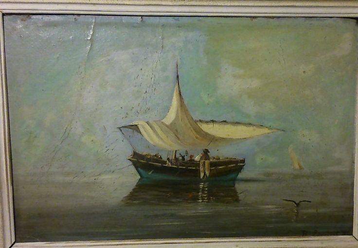 B. ESMIEU Barque au mouillage HUILE CARTON 1884 Marseille cercle Chevalier ROZE