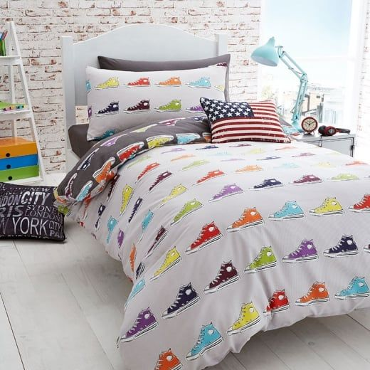 "Catherine Lansfield ""Sneakers"" Multicoloured Duvet Set | Boys Bedding"